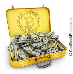 dollars, bitcoin, valise