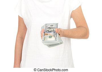 dollars, blanc, isolé, fond, main