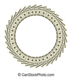 Dollars Border Over White Background