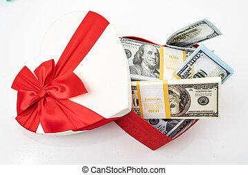 dollars, boxas, hjärta, vit, knippe, gåva bocka, isolerat