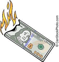 dollars, cent, brûlé