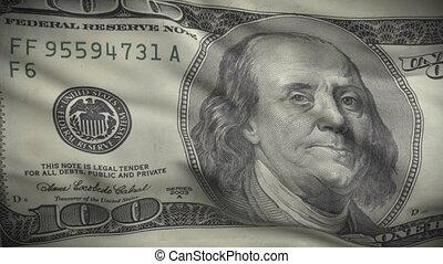 dollars, cent, drapeau, ondulations, une