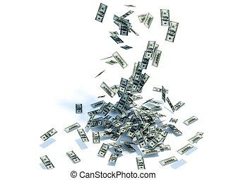 dollars, ciel, pointe, isolé, blanc