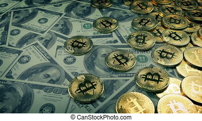 dollars, concept, financier, bitcoins
