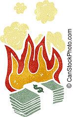 dollars, dessin animé, brûlé
