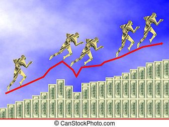 Dollars diagram - Money diagram with dollars people