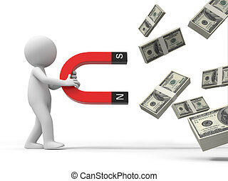 Dollars - Dollar,magnet,a person with magnet suction a...