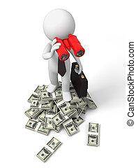 Dollars - Dollar,telescope,a businessman standing on bundles...
