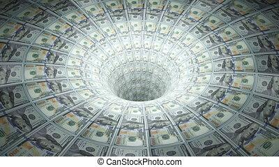 Dollars down the drain. - Money drain. Loopable.