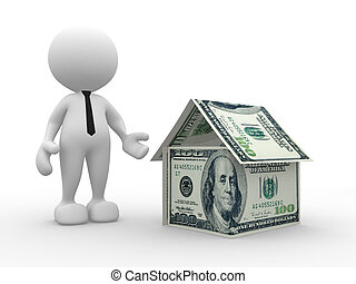 Dollars - 3d people - man, person with a house of U.S...