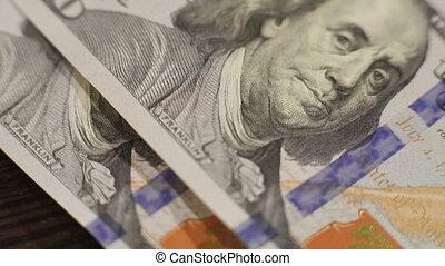 dollars, een, 4k, partij, tafel, het vallen, honderd