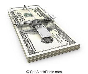 dollars, fait, piège souris, paquet