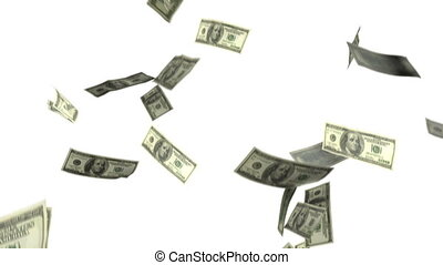 1080p HD Stock Video of Dollar Bills falling from above with alpha matte