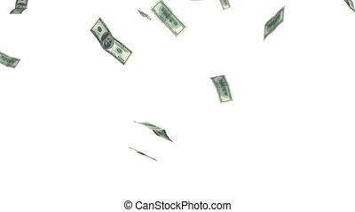 dollars, falling., alpha, mask., hd.