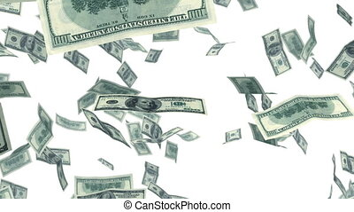 Dollars falling in looped animation