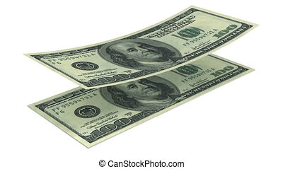 Dollars falling into stack on white. Alpha mask. HD 1080.