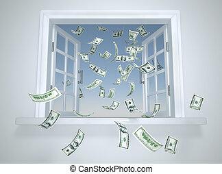 dollars, fenêtre, tomber