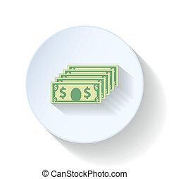 Dollars flat icons set vector graphic illustration