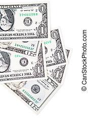 dollars, fond blanc