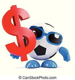 dollars, football, mec, nous, a, 3d