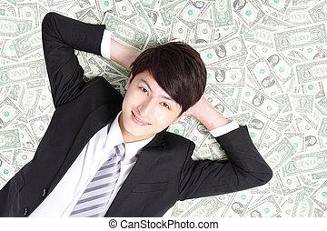dollars, hög, affärsman, le, lögnaktig, lycklig