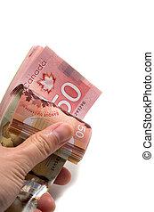 dollars, hand, 50, vasthouden, canadees