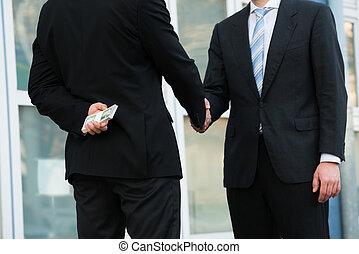 dollars, handen, terwijl, vasthouden, zakenman, partner,...
