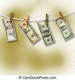 Dollars hanging from a rope on the abstract background. Conceptual image.