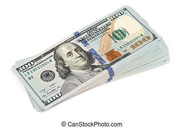 dollars, honderd, stapel
