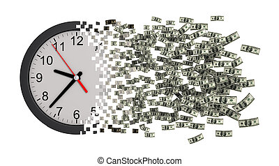 dollars., horloge, argent., temps, effondrer