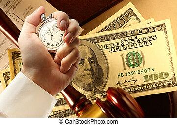 dollars, impôt, main, chronomètre, formulaire, marteau