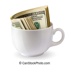 dollars in a cup