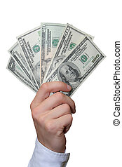 Dollars in a hand - American dollars in a hand