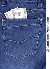 dollars in a jeans