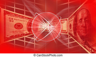 Dollars in a red background appearing to the camera in a...