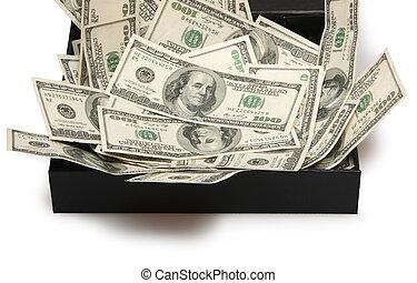 dollars in black box, money