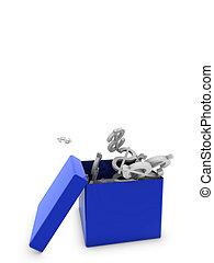 dollars in blue box