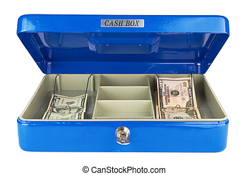 Dollars in blue cash box isolated on white