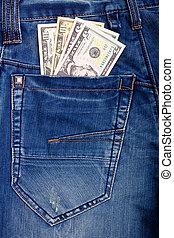 Dollars in blue jeans