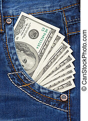 dollars in jeans pocket