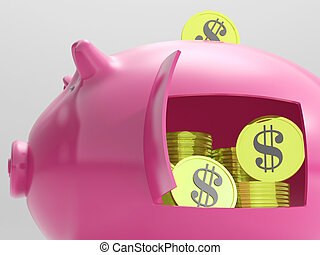 Dollars In Piggy Shows Currency And Investment