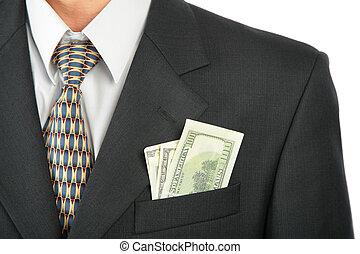 Dollars in pocket of coat