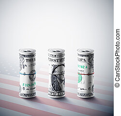 Dollars in roll on background of American flag. Eps 10