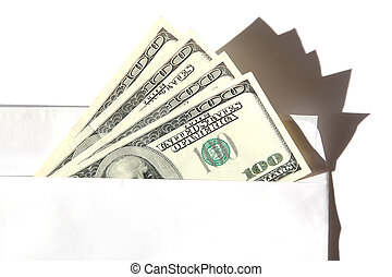 dollars in the envelope on the white backgrounds