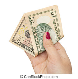 dollars in the hand of the girl on a white background