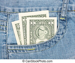 dollars in the jeans pocket