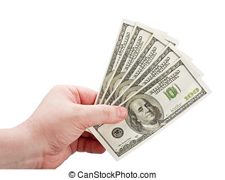 dollars in the man's hand