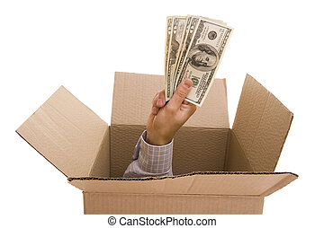 Dollars inside - Hand with dollars inside a cardboard box