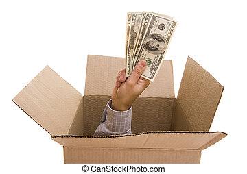 Dollars inside - Hand with dollars inside a cardboard box