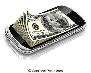 dollars inside smart phone 3d concept